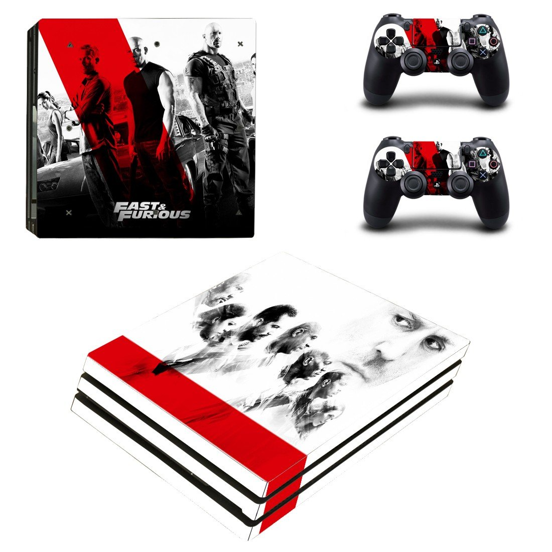 Fast & Furious ps4 pro skin decal for console and controllers