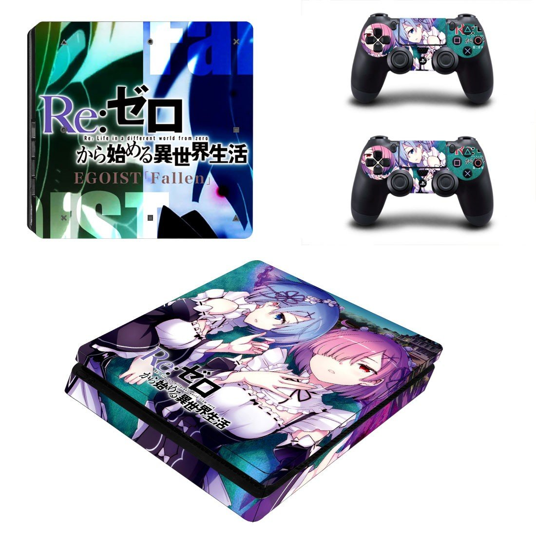 Re zero ps4 slim skin decal for console and controllers
