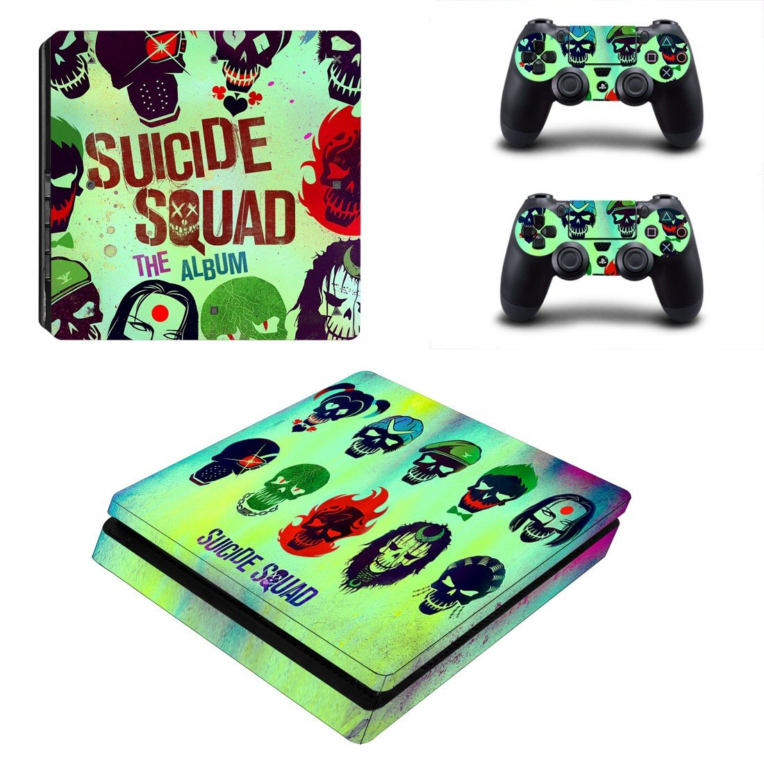 Suicide squad ps4 slim skin decal for console and controllers