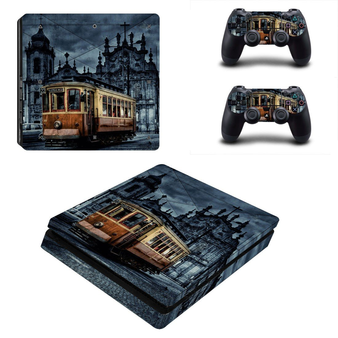 Tram wallpaper ps4 slim skin decal for console and controllers