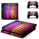 Colorful wooden board skin decal for PS4 PlayStation 4 console and 2 controllers