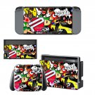 Geomatric cartoon Nintendo switch console sticker skin