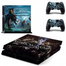 Shadow of War skin decal for PS4 PlayStation 4 console and 2 controllers