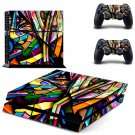 Colorful anime skin decal for PS4 PlayStation 4 console and 2 controllers