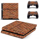 Brick wall print skin decal for PS4 PlayStation 4 console and 2 controllers