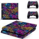 Colourful retro robots skin decal for PS4 PlayStation 4 console and 2 controllers