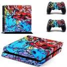 Prisma robot graffiti skin decal for PS4 PlayStation 4 console and 2 controllers
