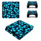 Light blue Square ps4 slim skin decal for console and controllers
