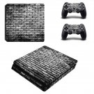 Black and white shade Brick wall ps4 slim skin decal for console and controllers