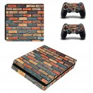 Multicolour brick wall print ps4 slim skin decal for console and controllers