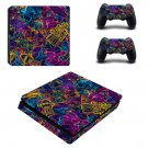 Colourful retro robots ps4 slim skin decal for console and controllers