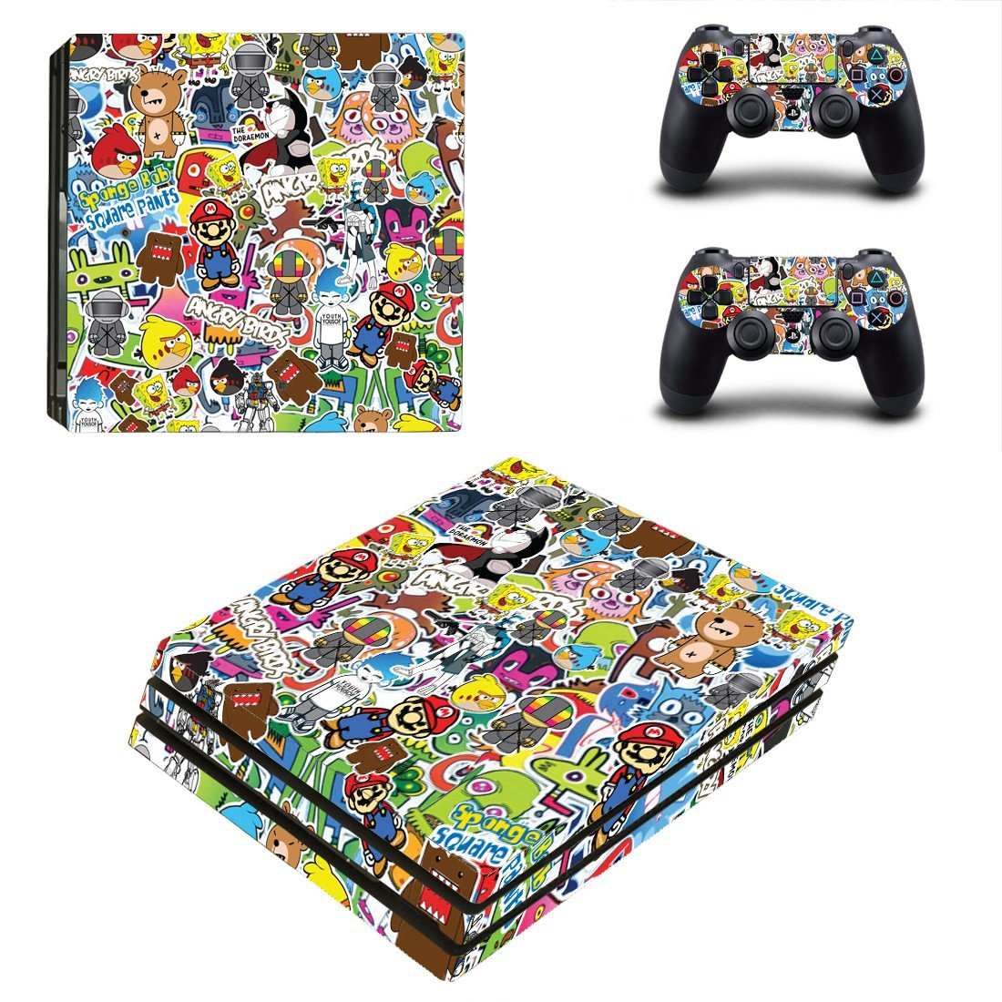Cartoon sticker bomb ps4 pro skin decal for console and controllers