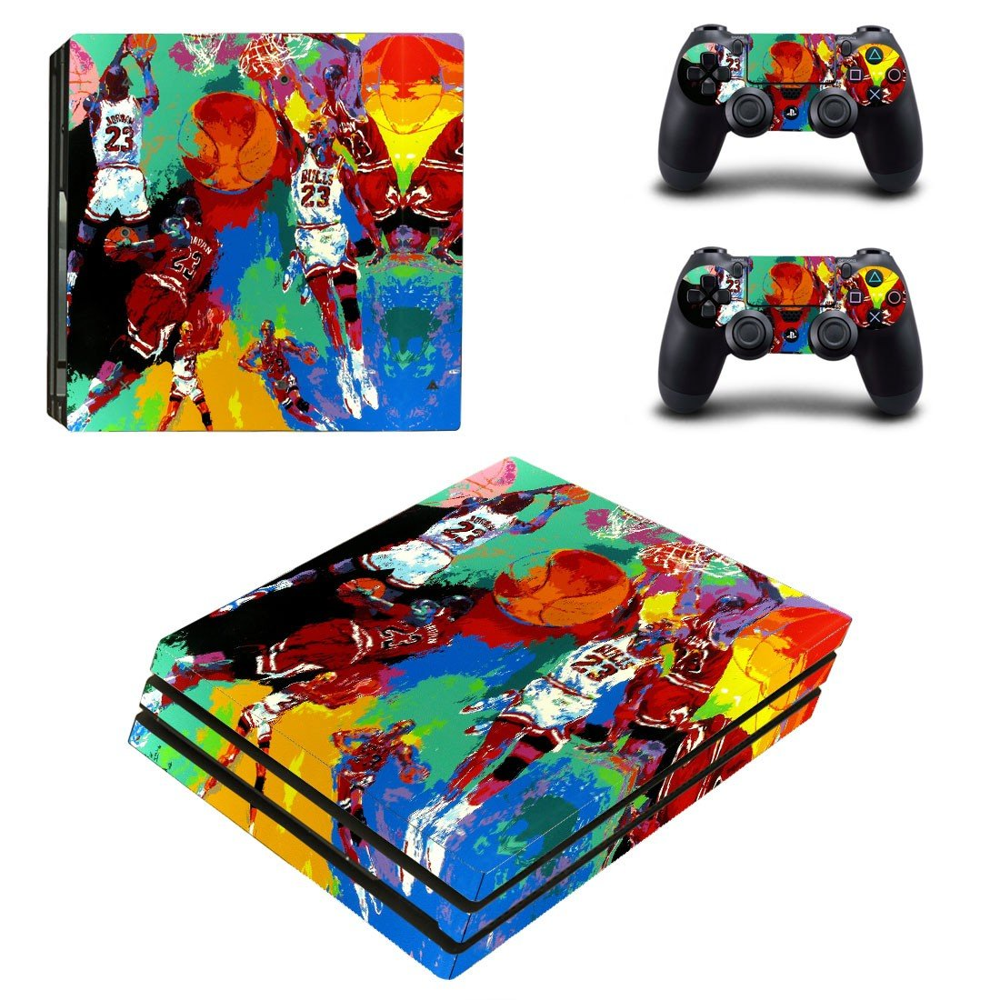 Michael jordan leroy neiman ps4 pro skin decal for console and controllers