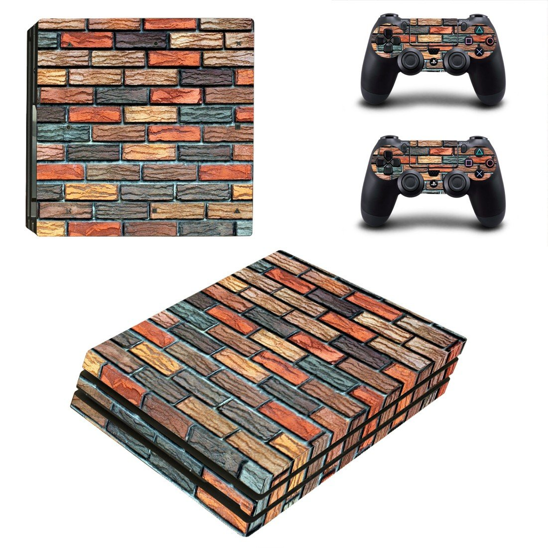 Multicolor brick wall paint ps4 pro skin decal for console and controllers