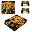 Flower paintaing ps4 pro skin decal for console and controllers
