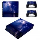 Lightning cloudy sky ps4 pro skin decal for console and controllers