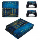 Starry night ps4 pro skin decal for console and controllers