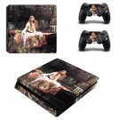 The lady of shalott ps4 slim skin decal for console and controllers