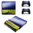 Lightning sky with nature view ps4 slim skin decal for console and controllers