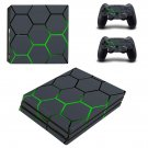 Neon green and gray ps4 pro skin decal for console and controllers