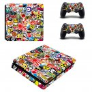 Sticker bomb ps4 slim skin decal for console and controllers