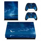Open Galaxy with Nature xbox one X skin decal for console and 2 controllers