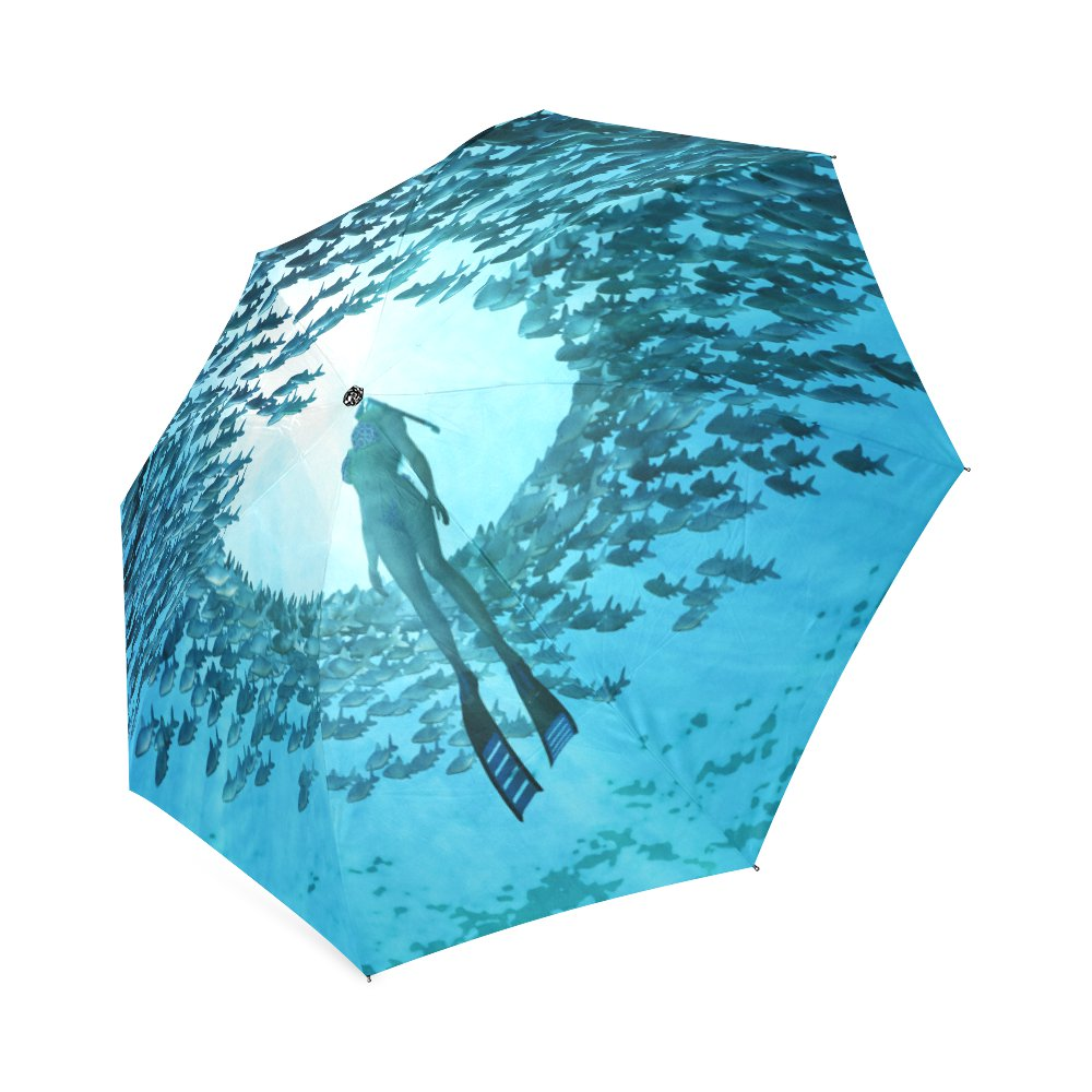 Diving in Ocean with Fishes Foldable Umbrella 8 ribs