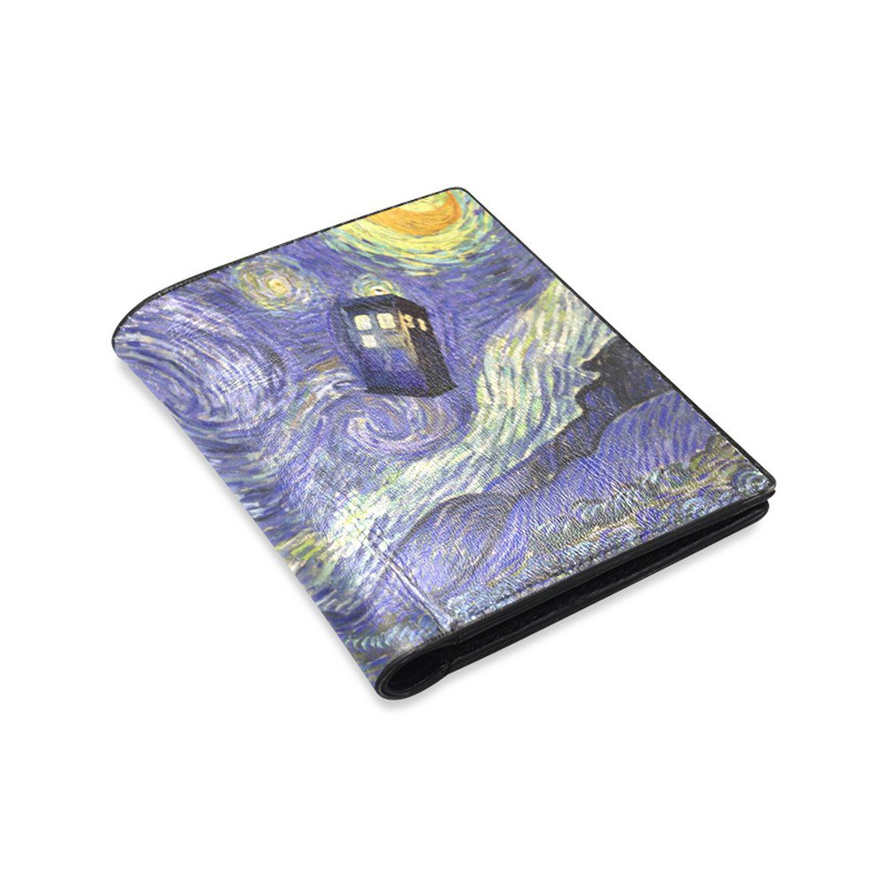 Starry Night feat Tardis Police Box Leather Wallet