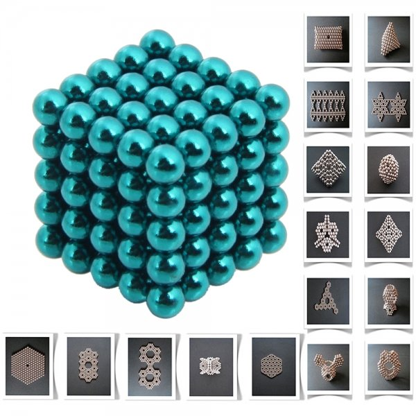 125pcs 5mm DIY Buckyballs Neocube Magic Beads Magnetic Toy Water Blue