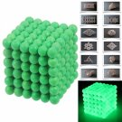 216pcs 5mm DIY Buckyballs Neocube Magic Beads Magnetic Toy Fluorescent Green
