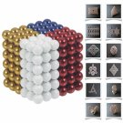 216pcs 5mm DIY Buckyballs Neocube Magic Beads Magnetic Toy Milky & Dark Golden & Dark Blue & Red