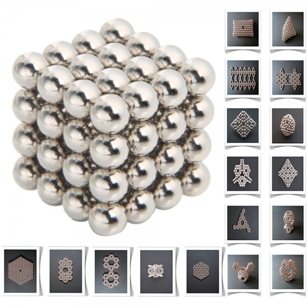 64pcs 8mm DIY DIY Buckyballs Neocube Magic Beads Magnetic Toy Silver