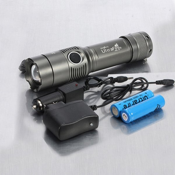 CREE XM-L 2000LM 3 Modes White Light Adjustable Focus Zooming Aluminum Alloy LED Flashlight Grey