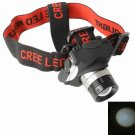 BD6105 5903 CREE XPE Rechargeable White Light LED Headlamp for Camping Silver Ring Black & Red