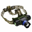 T05 1W High Power Aluminum Alloy & ABS Headlamp Black & Army Green & Blue (1*18650 / 3*AAA