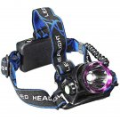 CREE XML T6 LED Aluminum 1-Bulb 2000LM 3 Modes Waterproof Headlamp Purple & Black (2*18650)