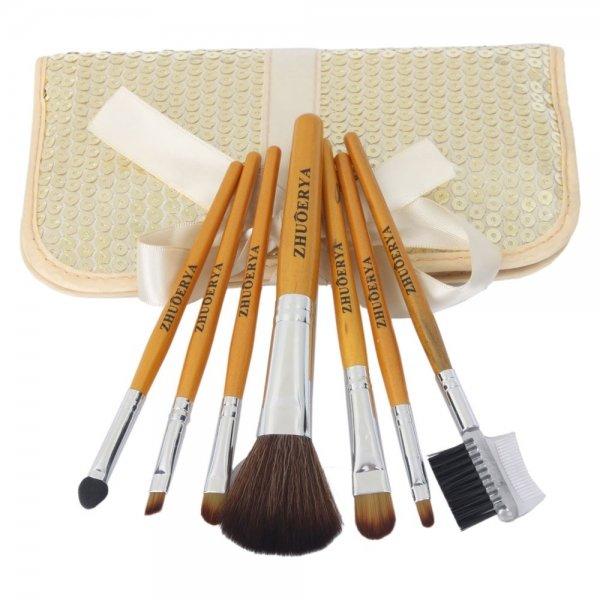 7pcs Professional Cosmetic Makeup Brush Set with paillette Bag FCBH016