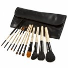 12pcs High-Quality Head Wood Handle Cosmetic Brush Set Black