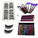 88 Color Matte Shimmer Eyeshadow Palette + 10 Pair Long Thick False Eyelashes + Makeup Brush Set