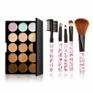 15-color Concealer + 5pcs Professional Multifunctional Cosmetic Makeup Brushes Set Pink