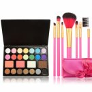 25-color Eye Shadow + 7pcs Professional Multifunctional Cosmetic Makeup Brushes Set Pink Silk Ribbon