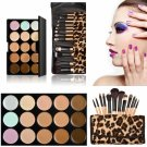 15-color Concealer + 12pcs Wooden Handle Professional Multifunctional Cosmetic Makeup Brushes Set
