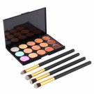New Cosmetic Set with 15-Color Face Cream Concealer Palette & 4pcs Make-up Brushes