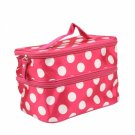 Polka Dot Double Layer Cosmetic Bag Rose Red