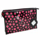 Newest Fashion Patent Leather Cosmetic Bag with Rose Dots Black