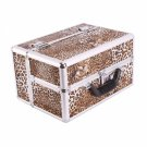 Leopard Pattern Lockable Cosmetic Makeup Train Case
