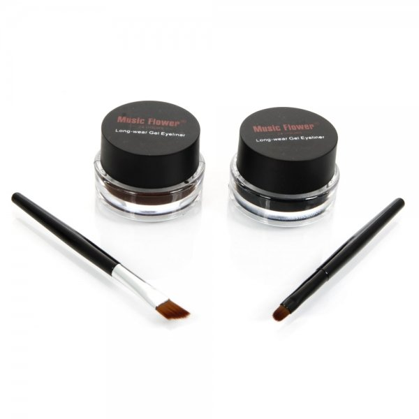 2Pcs Eyeliner Gel Cream Eyes Cosmetic Makeup Tools Waterproof Black & Brown + Brush
