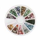 12 Colors 1800pcs + Wheel Nail Art Glitter Tips Rhinestone Comma