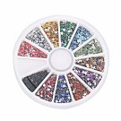 12 Colors 3000pcs + Wheel Nail Art Glitter Tips Rhinestone Five-pointed Star