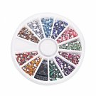 12 Colors 3000pcs + Wheel Nail Art Glitter Tips Rhinestone Square
